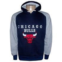 Blusa Moletom Chicago Bulls Azul Marinho Manga Cinza Cb73