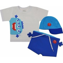 Camiseta + Sunga + Chapeu Cara De Criança Monstrinho