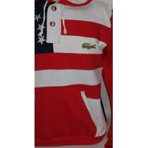 Moletom Modelo Canguru Lacoste Bandeira Estados Unidos