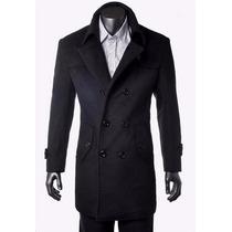 Sobretudo Importado P- Masculino Luxuoso Durável Lã Preto