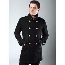 Sobretudo Importado M Masculino Militar Lã, Botões Dourados