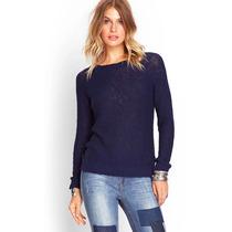 Casaco Moletom Sweater Malha Feminino Forever 21 Cor Azul
