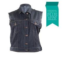 Colete Jeans Feminino Normal E Plus Size 02494 Lindo Estilo