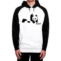 Blusa Moletom Enjoy Panda Logo Skate Raglan Canguru