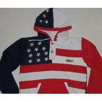 Moletom Lacoste Bandeira Estados Unidos Bordado