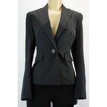 Kasper Listrado Único Botão Blazer Jacket Preto Brown
