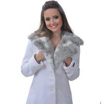 Casaco Devota - Lã Batida - Gola De Pêlo - Branco