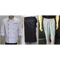 Combo Jaleco,avental,calça Xadrez Chef, Cozinheiro, Gambuza
