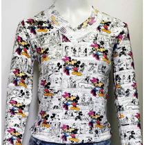 Blusa De Frio Feminina Tricot, Cardigan, Lã Mickey, Frajola