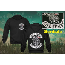 Casaco Bordado Moletom Sons Of Anarchy Zíper Moleton Blusa