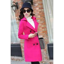 Sobretudo Importado Gg Muito Feminino E Elegante Em Lã Rosa