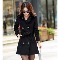 Sobretudo Importado- Eg- Trench Coat Em Lã Elegante Feminino