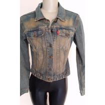 Jaqueta Feminina Jeans Com Aplicação Em Couro