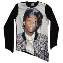 Camisetao Blusa Moletom Oversized Long Line Bico Wiz Khalifa