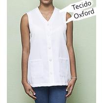 Jaleco Avental Cavado Feminino, Gola V Em Oxford