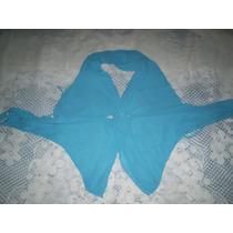 Blusa Frente Unica Crepe De Seda Turqueza Tamanho P