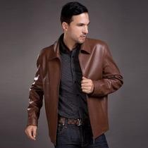 Jaqueta Importada G Luxuosa E Elegante Couro Legítimo Marrom
