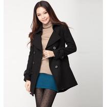 Sobretudo Importado G- Luxuoso Em Lã Elegante Clássico Preto