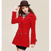 Sobretudo Importado Gg Casaco Luxuoso Elegante, Lã, Vermelho