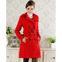Sobretudo Importado- Gg Trench Coat Em Lã Luxuoso Vermelho