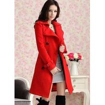 Sobretudo Importado- M- Trench Coat Em Lã Elegante Vermelho