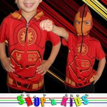 Camiseta Infantil Com Mascara - Iron Man