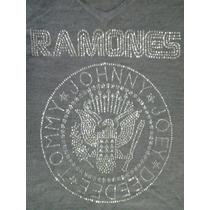 Suéter Ramones Banda Rock - Gola V - Strass - Blusa Ramones