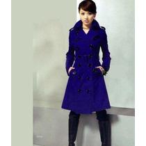 Sobretudo Importado Gg- Militar Elegante Feminino, Lã, Azul