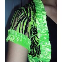 Bolero Zebra Verde Florescente Com Preto De Renda Com Cetim