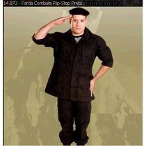 Farda Combate Rip-stop Preta Original Oficial