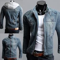 Jaqueta Jeans Masculina Fashion Slim Com Capuz Removível