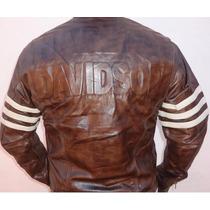 Jaqueta Couro Legítimo Bordado Harley Davidson