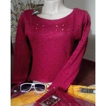 Blusa Cropped Feminina Inverno Frio Suéter Tricô Linha Renda