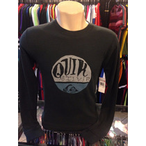 Camiseta Manga Longa Chumbo Quiksilver Masculino Tam. P #775