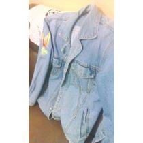 Jaqueta Jeans Desbotada Com Bordado Na Manga