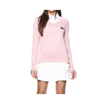 Cardigan Feminino Gola V Rosa - Club Polo Collection