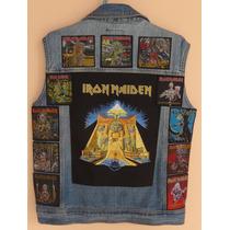 Colete Jeans - Tam G Masc C/12 Patches Iron Maiden (j386)