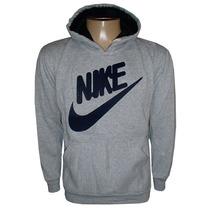 Blusa Moletom Nike Canguru Cinza Nk7