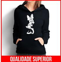 Moletom Minnie Mouse Pose Feminino Casaco Canguru/blusa