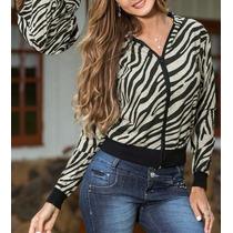 Jaquetinha Feminina Estampa Zebra Casaco Estampado