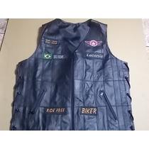 Colete De Couro Motociclista Com Varios Patchs.personalizado