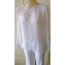 Blusa Camisa Branca Mullet Recorte Barra Social Grife P