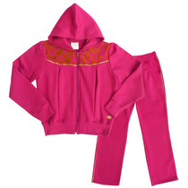 Conjunto Moletom Inverno Infantil Pink Com Capuz Fakini