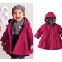 Lindo Casaco De Lã Rosa C/ Capuz Infantil Menina 9m A 2anos
