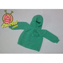 Casaquinho Verde De Tricô Com Touca Para Bebê Feito À Mão.