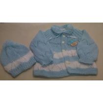 Casaquinho E Touca De Tricô Feito Mão Blusa De Bebê Inverno