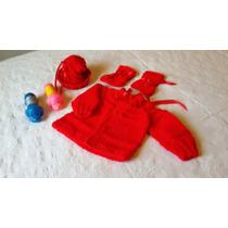 Casaquinho+touca+sapatinho De Bebê Em Trico Feito À Mão