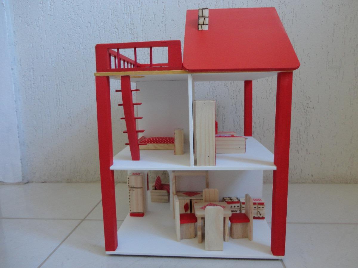 Casinha De Boneca Em Madeira Polly Rotativa Cor Vermelha Pictures to  #882025 1200x900