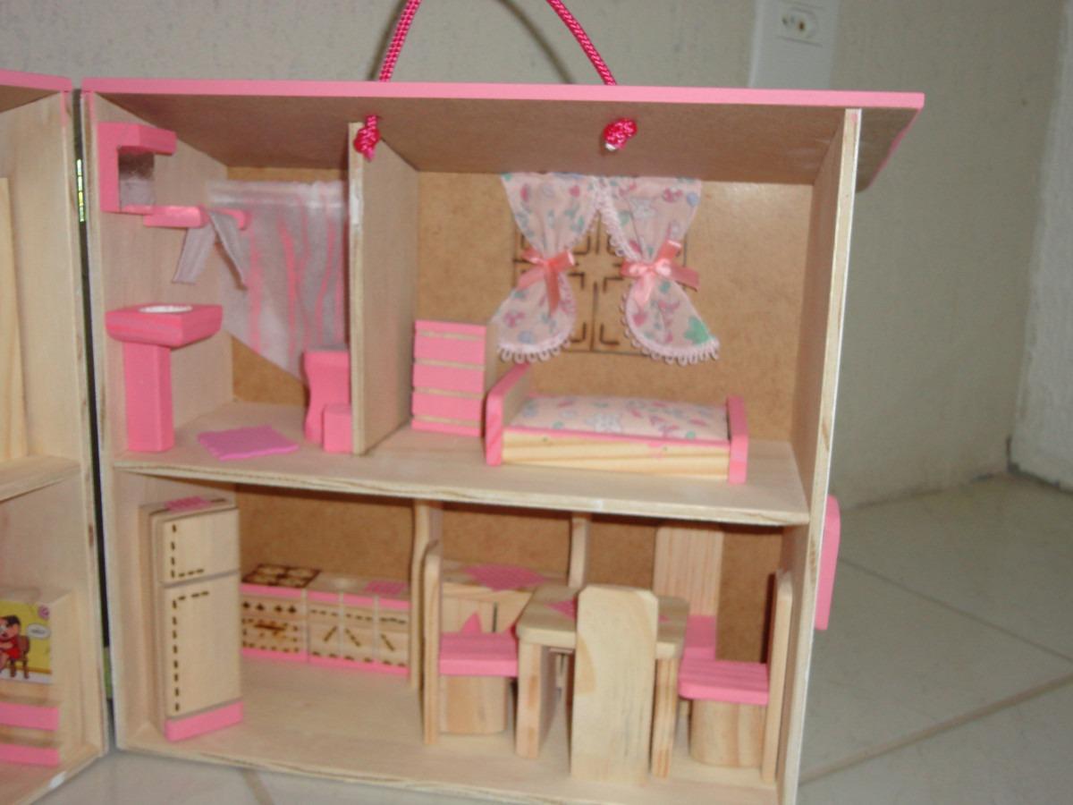 Casinha De Boneca Madeira Polly Cor Rosa R$ 179 00 no MercadoLivre #B11A3F 1200x900 Banheiro Da Barbie Como Fazer