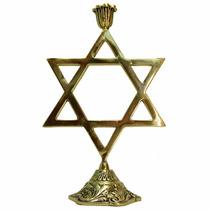 Castiçal Estrela De Davi Em Bronze Maciço 1 Vela Candelabro